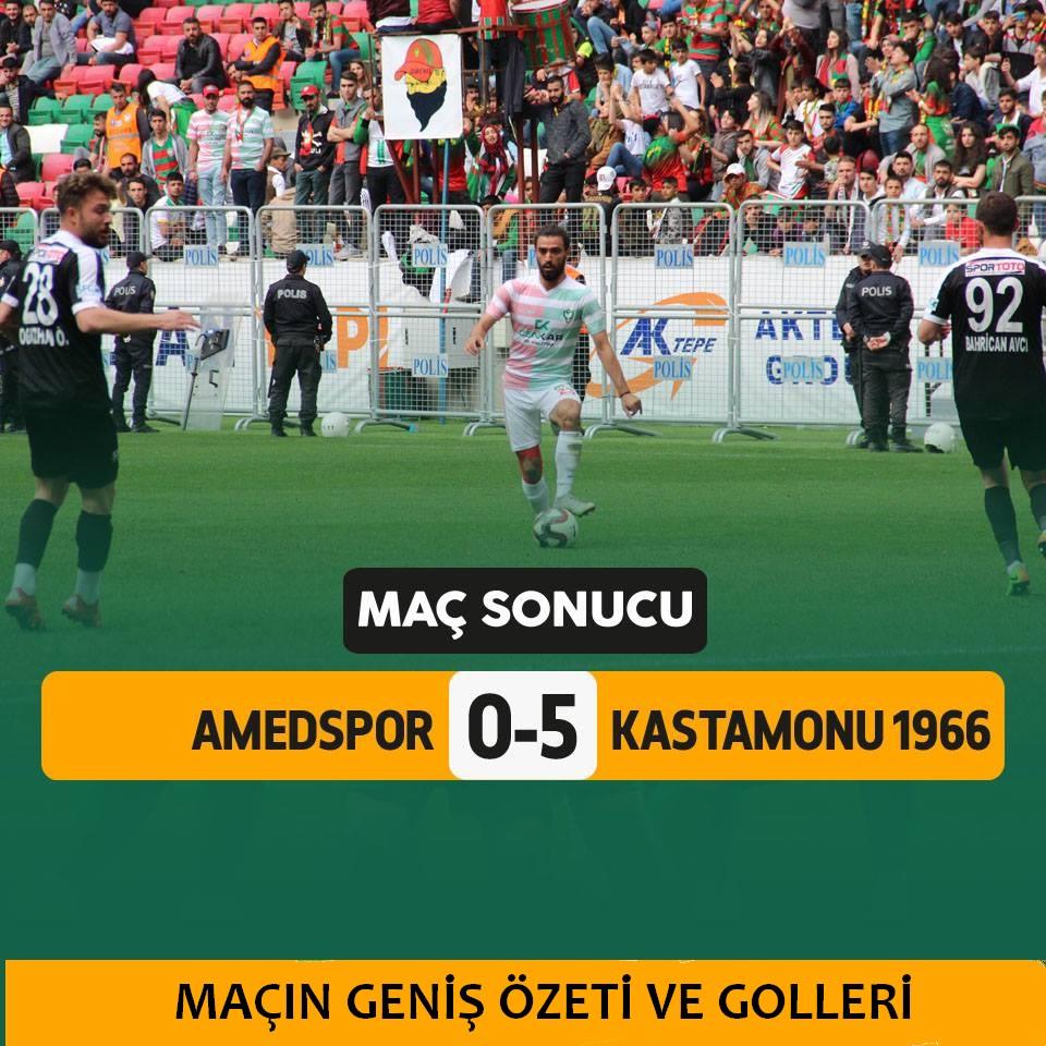 Amedspor :0 Kastamonuspor : 5 Maçın Özeti ve Golleri